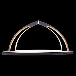 Candle Arch  -  modern wood  -  WHITE LINE  -  without Figurines  -  41x20cm / 16.1x7.9 inch