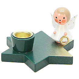 Candle Holder  -  Angel on Star  -  Green  -  3cm / 1.2 inch