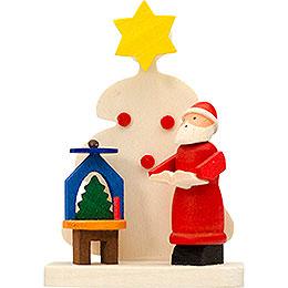 Christbaumschmuck Baum - Weihnachtsmann mit Pyramide 6cm