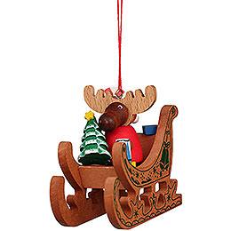 Christbaumschmuck Elch Weihnachtsmann im Schlitten  -  6,6cm