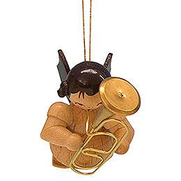 Christbaumschmuck Engel mit Bariton  -  natur  -  schwebend  -  5,5cm