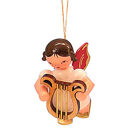 Christbaumschmuck Engel mit Leier  -  Rote Flügel  -  schwebend  -  5,5cm