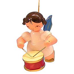 Christbaumschmuck Engel mit Trommel  -  Blaue Flügel  -  schwebend  -  5,5cm
