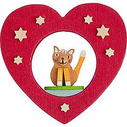 Christbaumschmuck Herz mit Katze  -  7cm