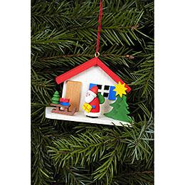 Christbaumschmuck Weihnachtsmann am Haus  -  7,0x5,0cm