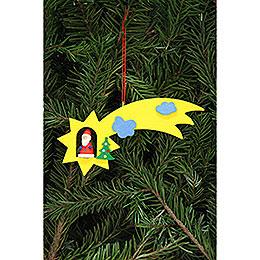 Christbaumschmuck Weihnachtsmann in Sternschnuppe  -  12,9x5,2cm