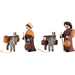 Donkey Train, Set of Four, Stained  -  7cm / 2.8 inch