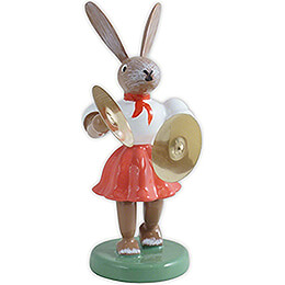 Easter Bunny with Cymbals, Colored  -  7,5cm / 3 inch