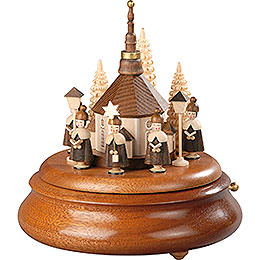 Electronic Music Box  -  Carolers and Seiffen Church Natural  -  19cm / 7.5 inch
