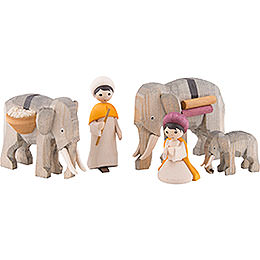 Elephant Herders, Set of Five, Stained  -  7cm / 2.8 inch