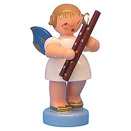 Engel mit Fagott  -  Blaue Flügel  -  stehend  -  6cm