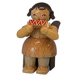 Engel mit Mundharmonika  -  natur  -  sitzend  -  5cm