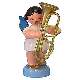 Engel mit Tuba  -  Blaue Flügel  -  stehend  -  6cm