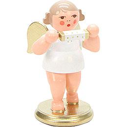 Engel weiß/gold mit Mundharmonika  -  6,0cm