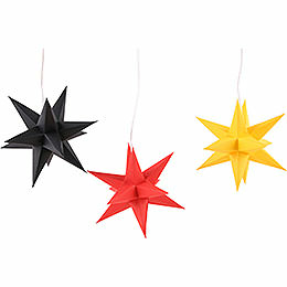 Erzgebirge - Palace Moravian Star Set of Three Black - Red - Gold Germany Set incl. Lighting  -  17cm / 6.7 inch