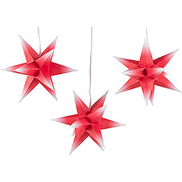 Erzgebirge - Palace Moravian Star Set of Three  -  Red - White  -  incl. Lighting  -  17cm / 6.7 inch