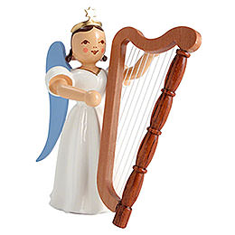 Faltenlangrockengel Harfe, farbig  -  6,6cm