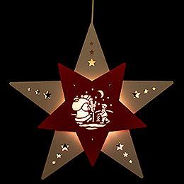 """Fensterbild Stern """"Knecht Ruprecht"""" Weiß/Rot LED  -  30,5x29x6cm"""
