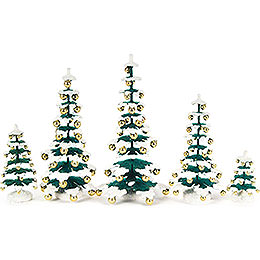 Fir Trees with Golden Baubles  -  5 pieces  -  15cm / 5.9 inch