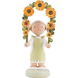 Flachshaarkinder Mädchen mit Blumengirlande  -  5cm