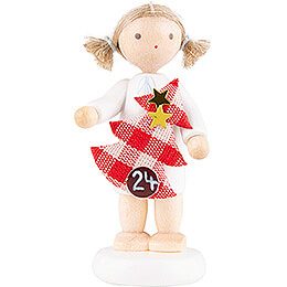 Flax Haired Angel with Christmas Tree (24)  -  5cm / 2 inch