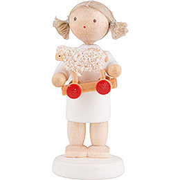 Flax Haired Angel with Little Lamb  -  5cm / 2 inch