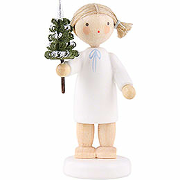 Flax Haired Angel with Little Tree  -  5cm / 2 inch