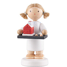 Flax Haired Angel with Smoking House  -  5cm / 2 inch