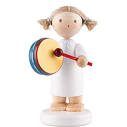 Flax Haired Angel with Tambourine  -  5cm / 2 inch
