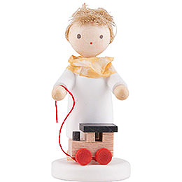 Flax Haired Angel with Toy Locomotive  -  5cm / 2 inch