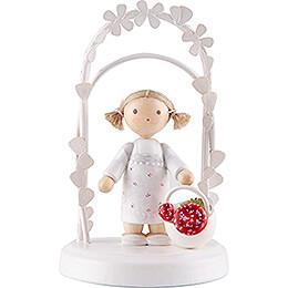 Flax Haired Children  -  Birthday Child with Mushrooms  -  7,5cm / 3 inch