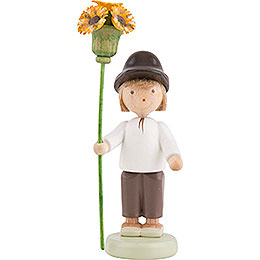 Flax Haired Children Boy with Flower Sceptre  -  5cm / 2 inch