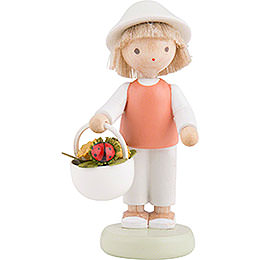 Flax Haired Children Boy with Lady Bug  -  5cm / 2 inch