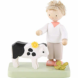 Flax Haired Children Boy with Little Calf  -  5cm / 2 inch