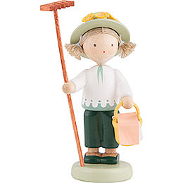 Flax Haired Children Gardener with Rake and Lunch Basket  -  5cm / 2 inch