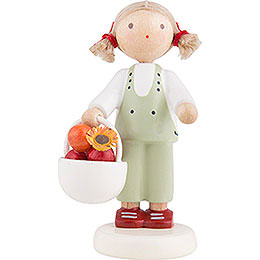 Flax Haired Children Girl with Apple Basket  -  Ca. 5cm / 2 inch