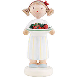 Flax Haired Children Girl with Cherries  -  Ca. 5cm / 2 inch