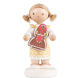 Flax Haired Children Girl with Gingerbread  -  5cm / 2 inch