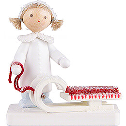 Flax Haired Children Girl with Sleigh  -  5cm / 2 inch