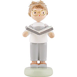Flax Haired Children Junge with Herbage Book  -  5cm / 2 inch