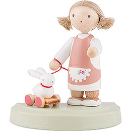 Flax Haired Children Little Girl with Bunny  -  5cm / 2 inch