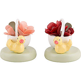 Flax Haired Children Two Rose Baskets  -  2cm / 1 inch