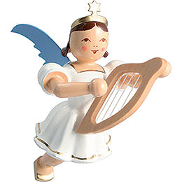 Floating Angel Colored, Lyre  -  6,6cm / 2.6 inch