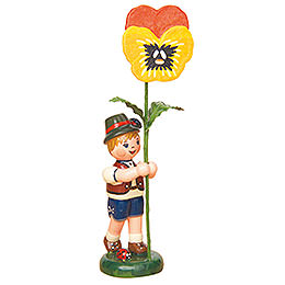 Flower Child Boy with Pansy  -  11cm / 4,3 inch
