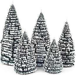 Frosted Trees  -  Green - White  -  5 pieces  -  8cm / 3.1 inch to 16cm / 6.3 inch