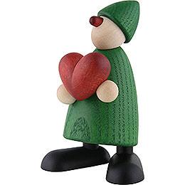 Gratulant Theo mit Herz, grün  -  9cm