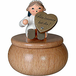 "Guardian Angel with Box ""Bin Immer Bei Dir""  -  6cm / 2.4 inch"