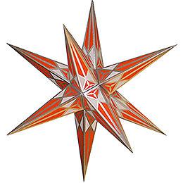 Hartenstein Christmas Star  -  White - Orange with Silver  -  68cm / 27 inch
