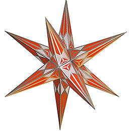 Hartenstein Christmas Star for Inside Use  -  White - Orange with Silver  -  68cm / 27 inch