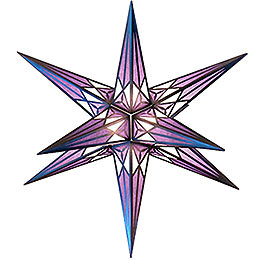 Hartenstein Christmas Star for Inside Use  -  White - Purple with Silver  -  68cm / 27 inch